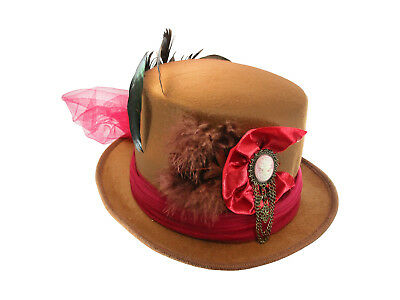 a9ab4d810a686 Deluxe Brown Felt Victorian Top Hat With Feathers Maroon Lace Bow And Cameo