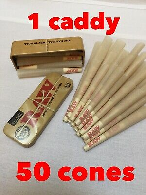RAW Organic 1 1/4 Size Pre Rolled Cones with Filter(50 pack)+raw cone wallet