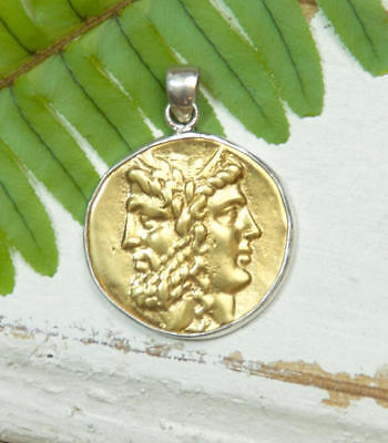 Gold Ancient Coin Pendant - 18K - Sterling Silver - Greek Janice