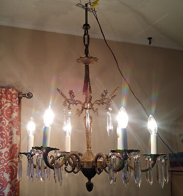 Vintage Brass Spanish Floral 6 Arm Candelabra Chandelier Light Fixture w/ Prisms