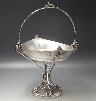 c.1870 STRICKLAND ALBANY FIGURAL HANDLE CAKE OR BRIDAL BASKET SILVER PLATED