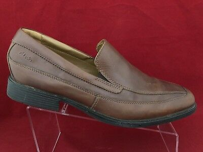 CLARKS TILDEN FREE Men's Brown Leather Slip On Casual Dress Loafers Shoes Sz10.5