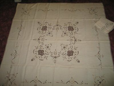 Vintage Tablecloth & Napkins-Antique Hand Embroidery-Lace Inserts Linen -UNUSED