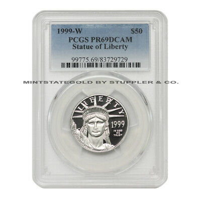 1999-W $50 Platinum Eagle PCGS PR69DCAM Deep Cameo Proof 1/2 oz .9995 Coin
