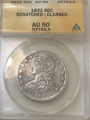 1832 Capped Bust Half Dollar  Large Letters ANACS AU50