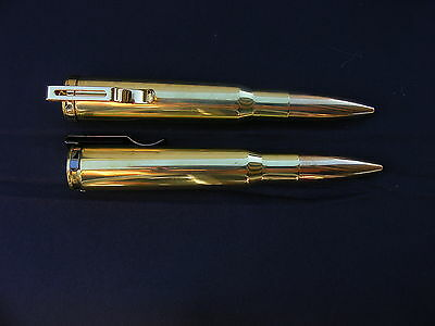SNIPER BULLET PEN GENUINE .50cal BMG BRASS;TRENCH ART RETRACT WITH POCKET CLIP