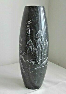 antique Chinese hard stone conical vase etched oriental scenes signed by maker