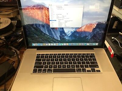 "Apple MacBook Pro A1297 17"" Laptop Core i7 2.4GHZ 4GB 500GB (7200 RPM) LATE 2011"