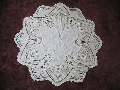 """Antique Victorian Tablecloth Battenburg Lace Victorian Hand Embroidered 61"""" roun"""