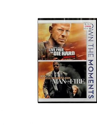 Life Free Or Die Hard / Man on Fire (DVD Movie) 2-in-1 Action Denzel Bruce