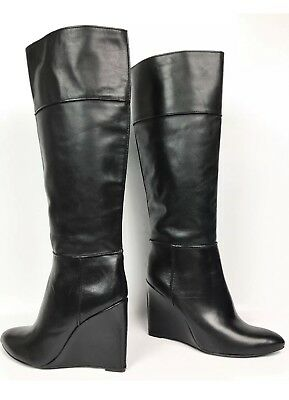 0041f701628 TORY BURCH  LINNETT  Black Leather Wedge Knee High Boots sz  US 6 ...