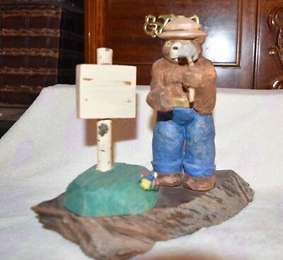 Smokey The Bear statue with hammer and sign VTG? Plastic resin? and wood
