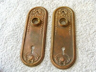 1890's Antique DOOR PLATES Solid Brass Copper ART NOUVEAU Style Original ORNATE