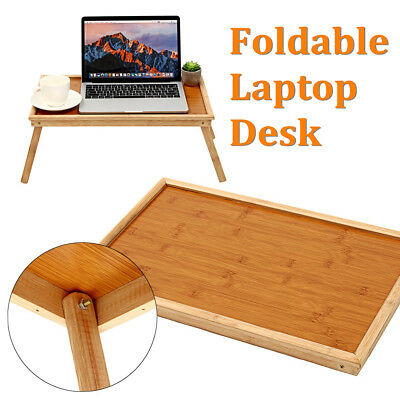 20'' Portable Bamboo Laptop Desk Bed Serving Tray Foldable Notebook Table Holder
