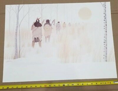 ONE of a KIND  Donald Vann * DOUBLE SIDED PRINT * Traveling Indians Snowscape