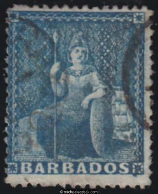1872 Barbados 1d Blue, SG 52, used