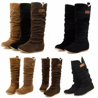 AU Fashion Women Slouch Suede Leather Shoes Knee High Pull on Winter Warm Boots