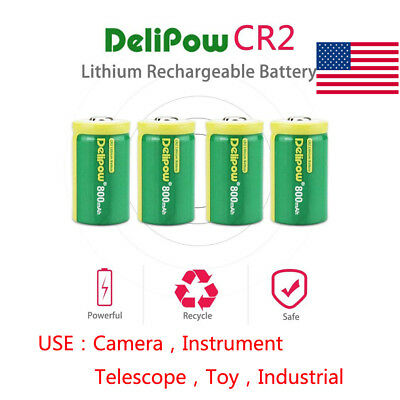 4-Pack 3.0V 800mAh CR2 Rechargeable Batteries Lithium Photo For Toy Telescope