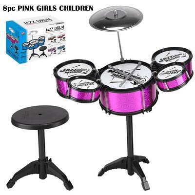8pc PINK GIRLS CHILDREN KIDS MINI DRUM PLAY SET KIT MUSICAL TOY STOOL & STICKS