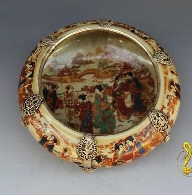 Chinese handwork old porcelain big pot Japanese belle inlay Tibet silver dragon