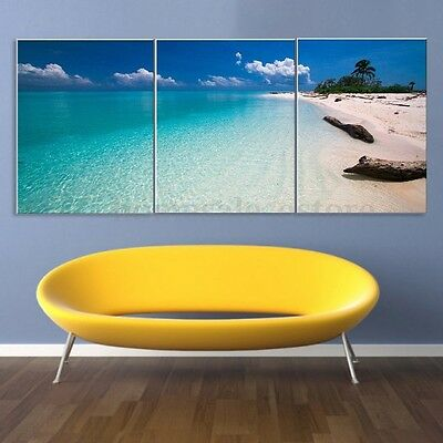 3 Panels Modern Abstract Beach Poster Art Canvas Print Painting Home Wall