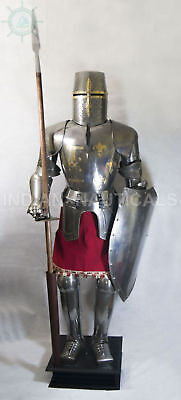 Medieval Silver Suit of Armor 15th Knight Combat Century Full Body Greek Armour