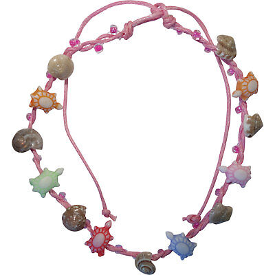 Pink Anklet Ankle Bracelet Foot Chain Womens Girls Shell Turtle Beads Jewellery