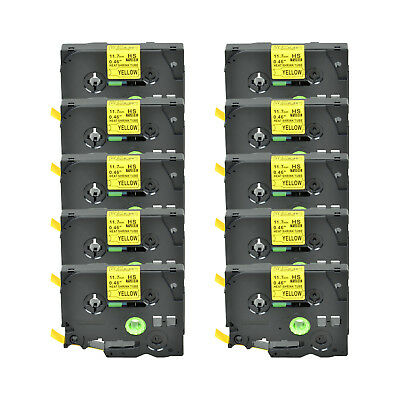 """10PK Heat Shrink Cartridge Label Black on Yellow HSe631 For Brother P-Touch 1/2"""""""