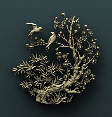 3d STL Model Relief for CNC Router Aspire _ (0255) Birds