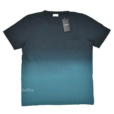 NWT $495 Saint Laurent Paris YSL Mens Teal Blue Ombre Dyed T-Shirt M L AUTHENTIC