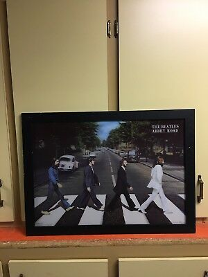 The Beatles Abbey Road Framed 3D Lenticular Poster - 21 X29 Top Quality