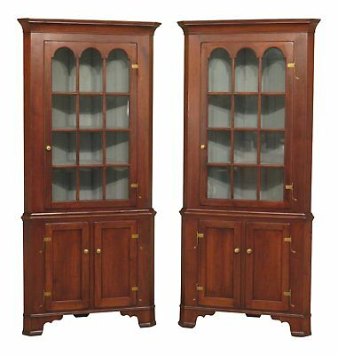 30550EC/51EC: Pair Benchmade Chippendale Style Walnut Corner Cabinets