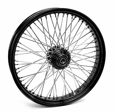 "Black 60 Spoke Billet 21"" x 3.5"" Single Disc Front Wheel Harley & Custom Models"