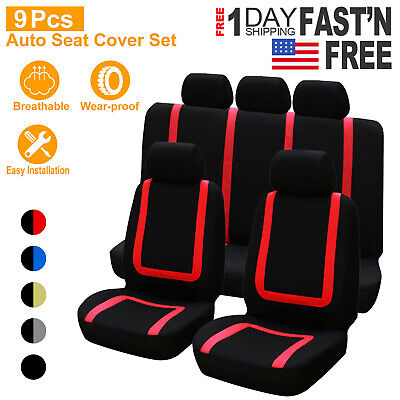 9Pcs Front Car Seat Covers for Auto Truck SUV Van Universal Protectors Polyester