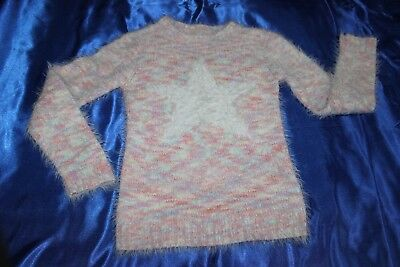 ( Ref 6) DEBENHAMS Super Soft Warm Pink Mix Girls  Star Jumper  Age 8-9