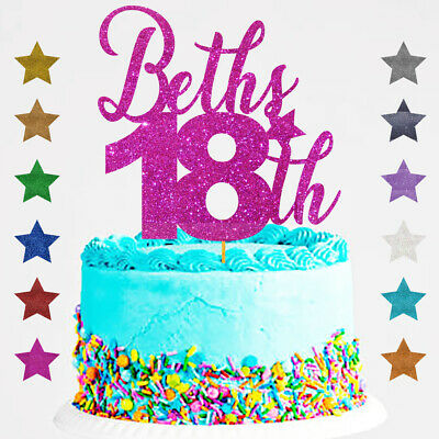 Personalised Happy 18th Birthday Glitter Cake Topper Any Name Any Age 21 16 30