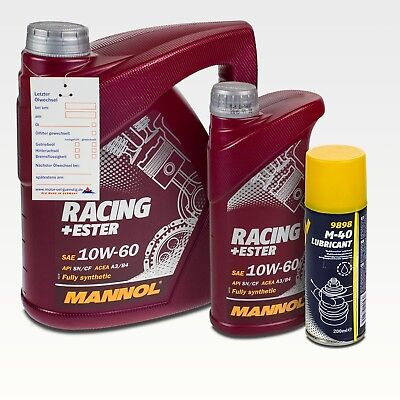 5 Liter MANNOL 10W-60 Racing + 200ml MANNOL M-40 Multifunktionskriechöl
