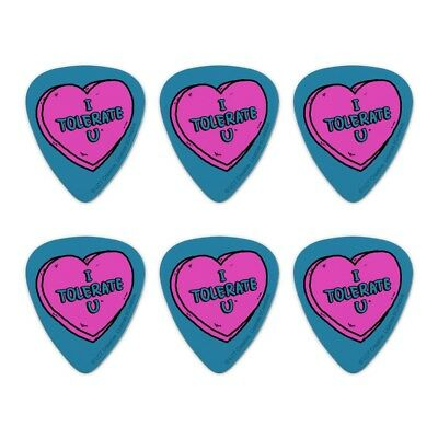 I Tolerate U Love You Funny Humor Novelty Guitar Picks Medium Gauge - Set of 6