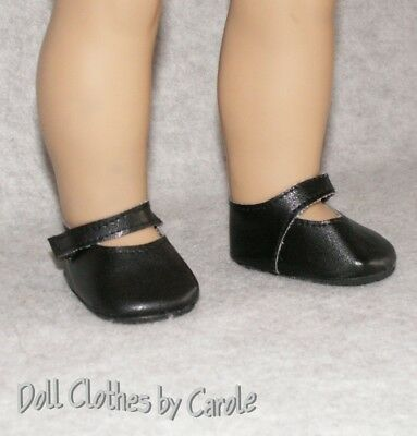 """Matte Black Mary Janes Dress Shoes fit 18"""" American Girl Doll"""