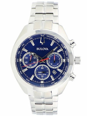Bulova Men's 96B285 Quartz Chronograph Blue Dial Silver-Tone 44.5mm Watch