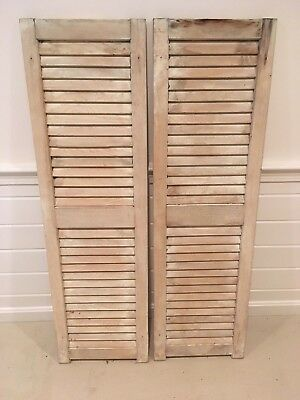 Vintage Antique Wood House Shutters Louvered - Very Solid and ready to go!