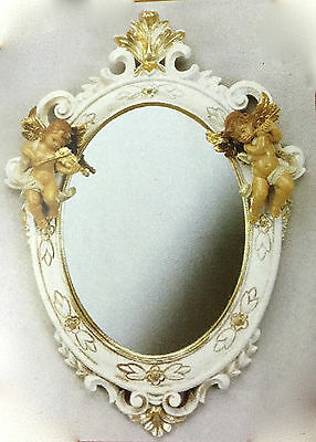 Baroque Wall Mirror White Gold Antique Rococo 38X28 Angel Floor Oval C446SBA
