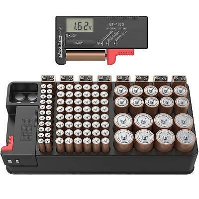 Battery Tester Organizer Storage case with Digital Tester Hold 110 Battery
