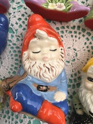 Vintage Collectable GNOME SET 6 Ceramic Hand Painted Figurines 1970s