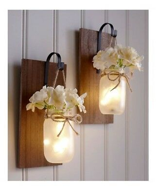Mason Jar Wall Sconce on Wood with a Faux Hydrangea Bunch Battery Operated