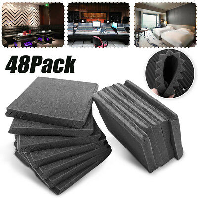 48 Pack Acoustic Foam Panel Wedge Studio Soundproofing Wall 12'' X 12'' X 1''
