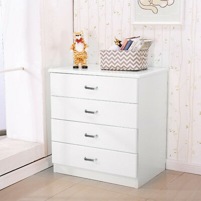 White Riano Chest Of Drawers 4 Drawer Metal Handles Runners Bedroom Furniture