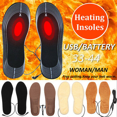 Electric Heated Shoe Insoles Sock Feet Heater USB Battery Foot Winter Warmer Pad