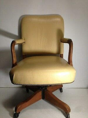 Superb Cream Leather Revolving Desk Chair