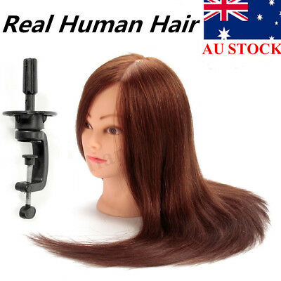 22'' 100% Real Human Hair Hairdressing Training Head Mannequin Doll Free Clamp